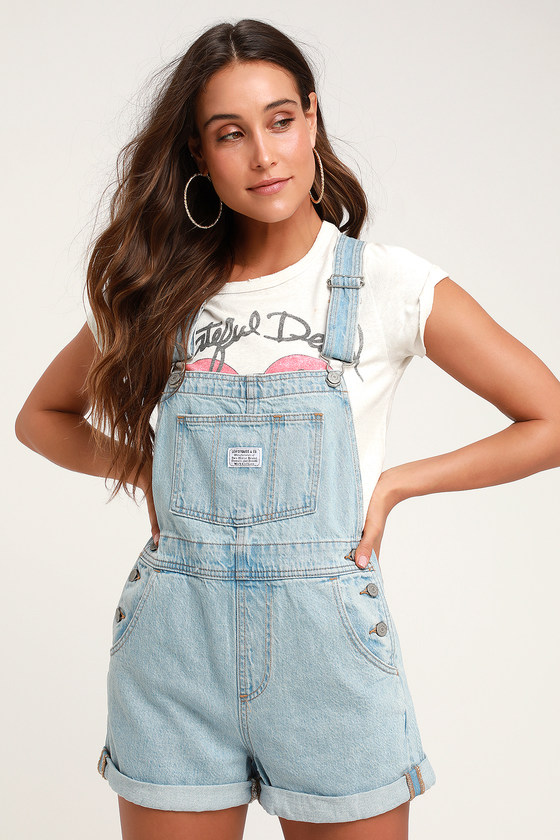 Vintage Shortall Light Blue Denim Overalls - Cute Summer Outfits