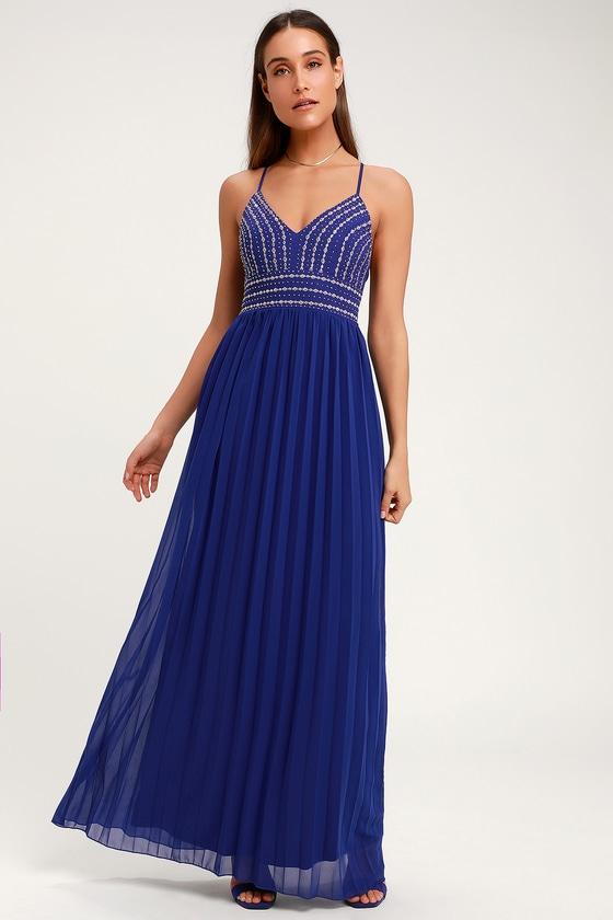 f6a2cbbb8952 Royal Blue Dress - Embroidered Maxi Dress - Beaded Maxi Dress