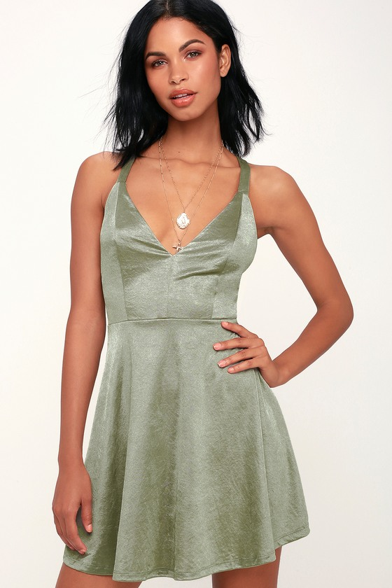40364566a7c5 Chic Green Satin Dress - Satin Skater Dress - Green Satin Dress
