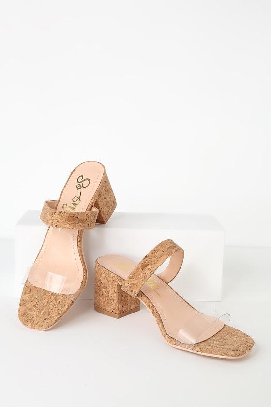 de6aeb57a Cute Cork Sandals - Slide Sandals - Vinyl Sandals - Heeled Sandal