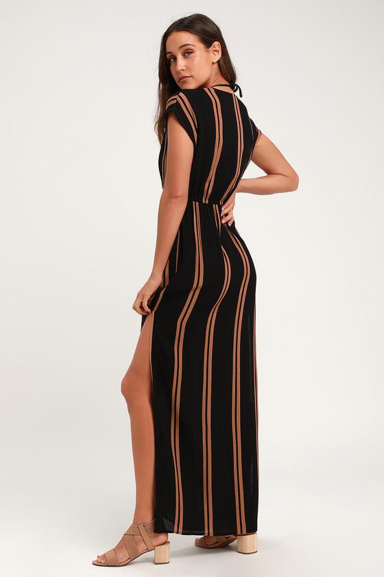 5d33d430ac28f Cute Striped Swim Cover-Up - Black Cover-Up - Swim Dress