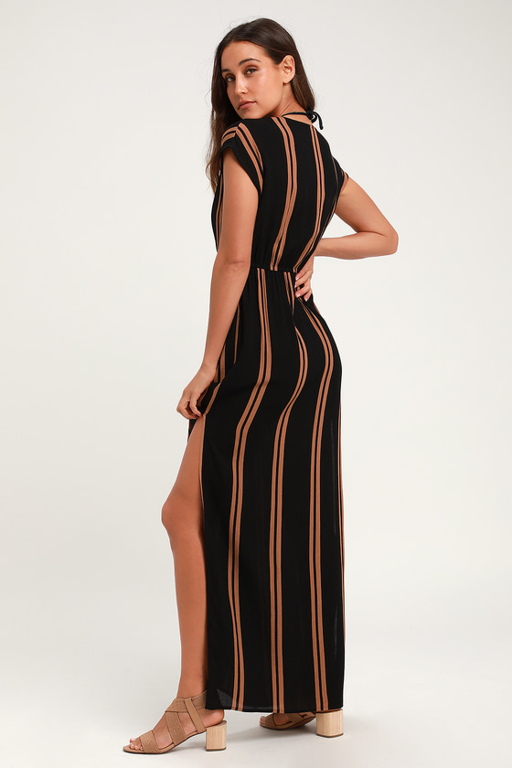 061eae90d5 Cute Striped Swim Cover-Up - Black Cover-Up - Swim Dress