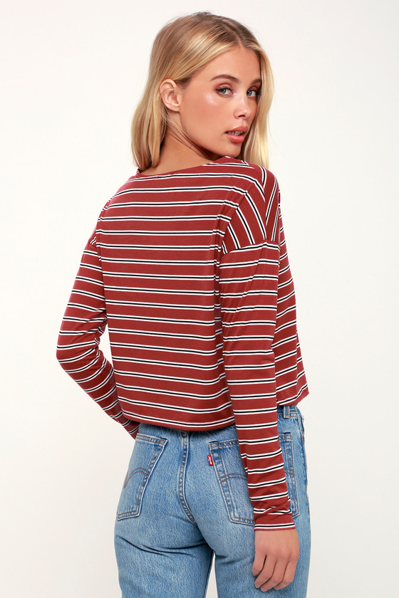d7bed02a592910 Cute Rust Red Striped Top - Long Sleeve Top - Crop Top - Red Top