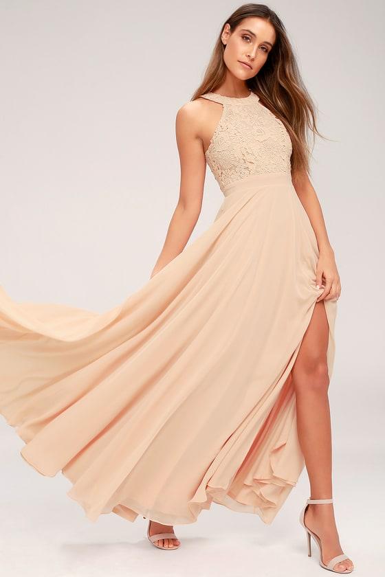 c41045e975 Elegant Blush Maxi Dress - Lace Dress - Halter Maxi Dress