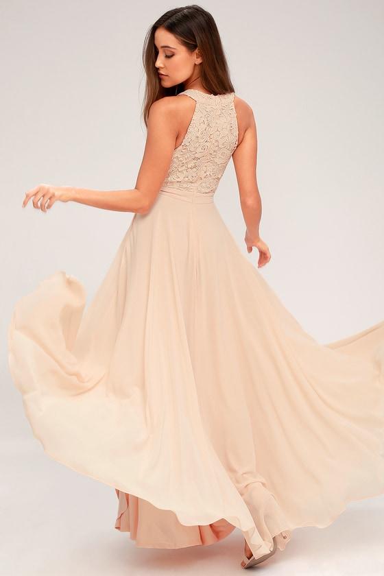 2c7aba4c15587 Elegant Blush Maxi Dress - Lace Dress - Halter Maxi Dress