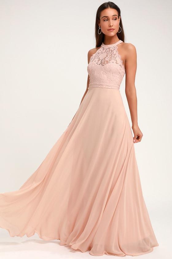 b5bbcc557d6 Elegant Maxi Dress - Lace Maxi Dress - Blush Pink Maxi Dress