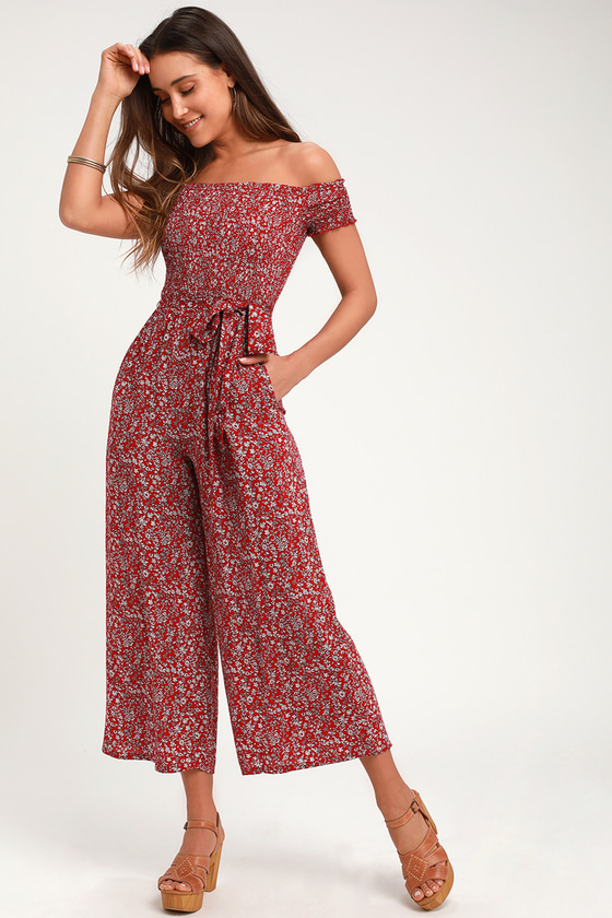 792f985bc0 Cute Jumpsuit - Red Floral Jumpsuit - Wide-Leg Jumpsuit