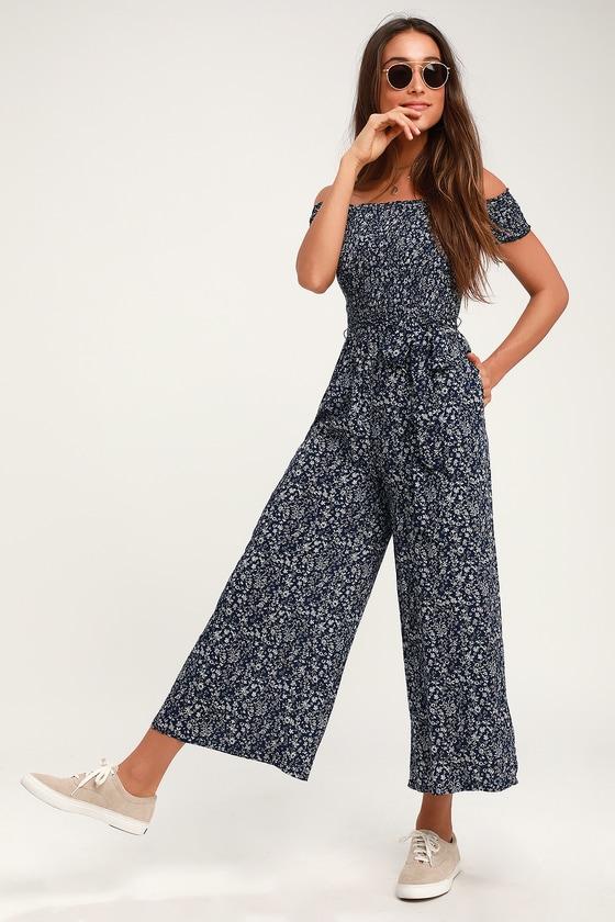 401eed5cd042 Cute Jumpsuit - Navy Blue Floral Jumpsuit - Wide-Leg Jumpsuit