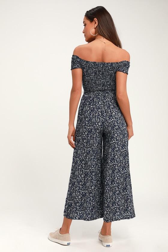 5e1cecdbbf1d Cute Jumpsuit - Navy Blue Floral Jumpsuit - Wide-Leg Jumpsuit