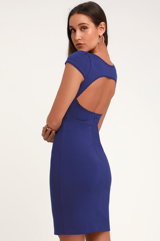 0f076b9303ee88 Sexy Blue Bodycon Dress - Short Sleeve Dress - Blue Dress