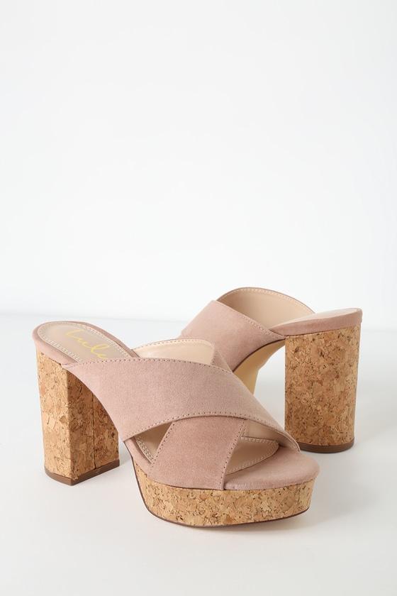 eeda2aba21 Cute Mauve Heels - Cork Heels - Platform Heels - Suede Heels