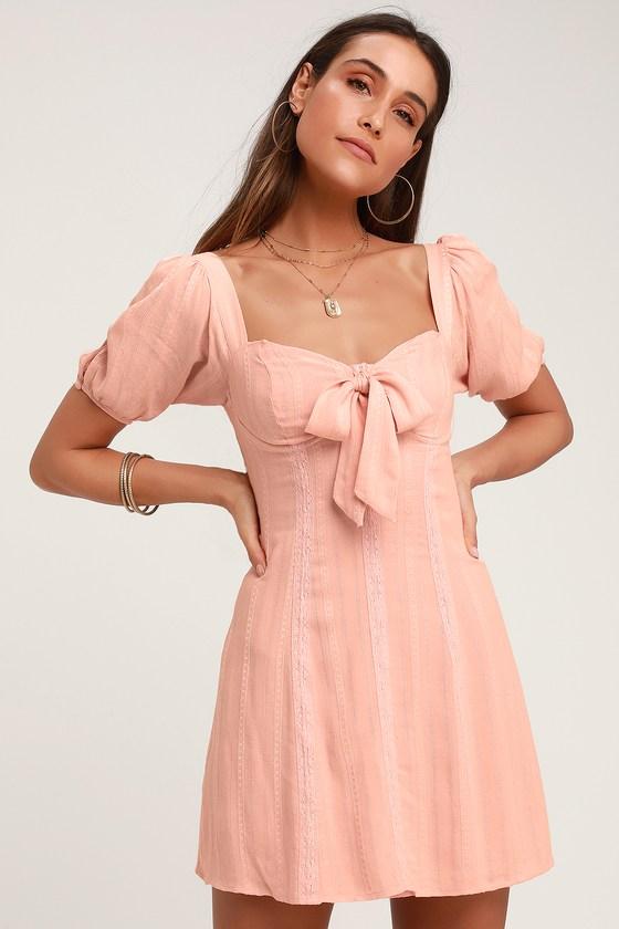 8547e30e9582b Pretty Blush Pink Puff Sleeve Dress - A-line Bustier Dress