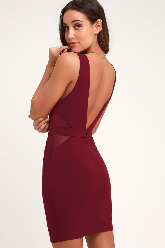 9ef522e557f9 Sexy Wine Red Dress - Wine Red Mesh Dress - Bodycon Dress