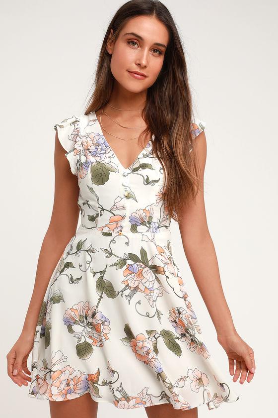 b5d476863b2 Cute Cream Skater Dress - Floral Skater Dress - Backless Dress