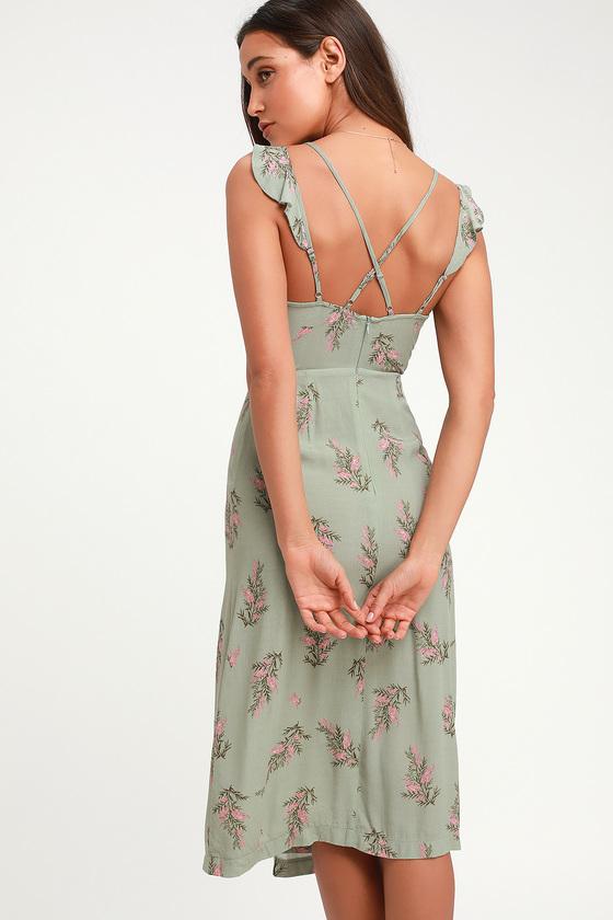 1db336353af 4SI3NNA Coleen - Sage Green Floral Dress - Surplice Midi Dress