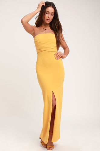 2a2fcc4d52e4b Own the Night Golden Yellow Strapless Maxi Dress