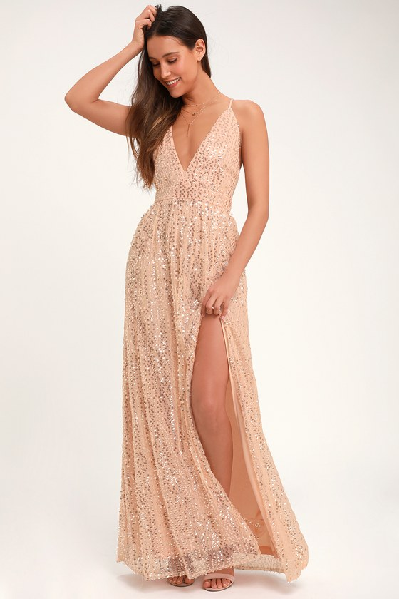 546677d14 Fun Blush Pink Sequin Dress - Open Back Dress - Sequin Maxi Dress