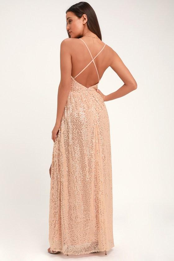 d5de46101dff6 Fun Blush Pink Sequin Dress - Open Back Dress - Sequin Maxi Dress