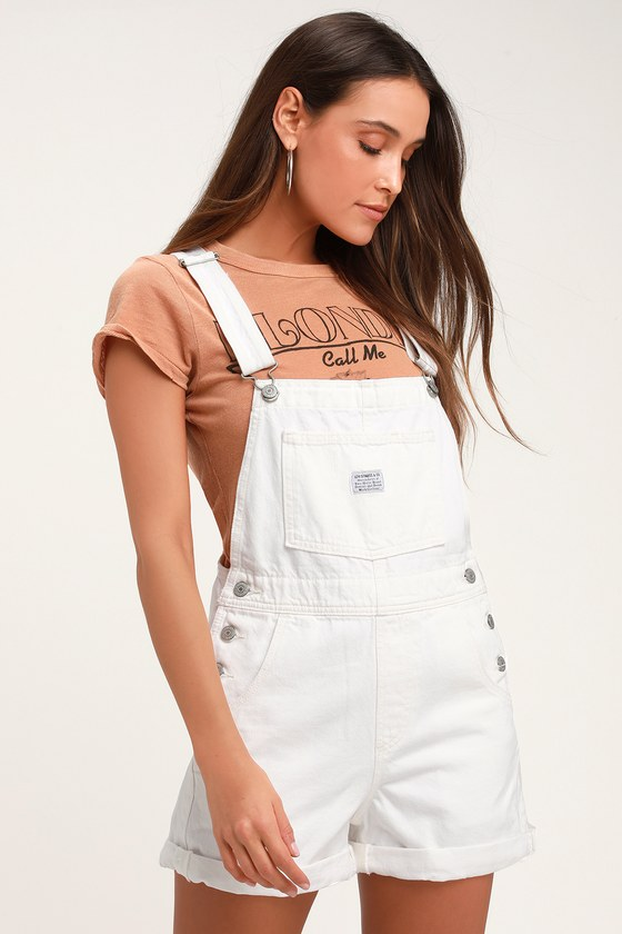 VINTAGE SHORTALL WHITE DENIM OVERALLS - Trendy Summer Outfits