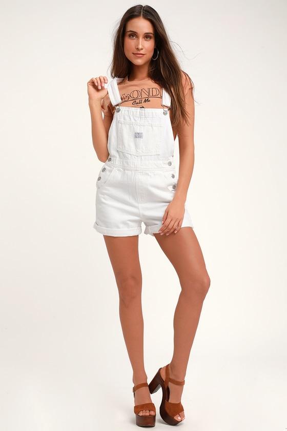 b986791e1a Vintage Shortall White Denim Overalls
