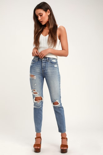 66272d4702 Nico Faded Light Wash Distressed High Rise Mom Jeans