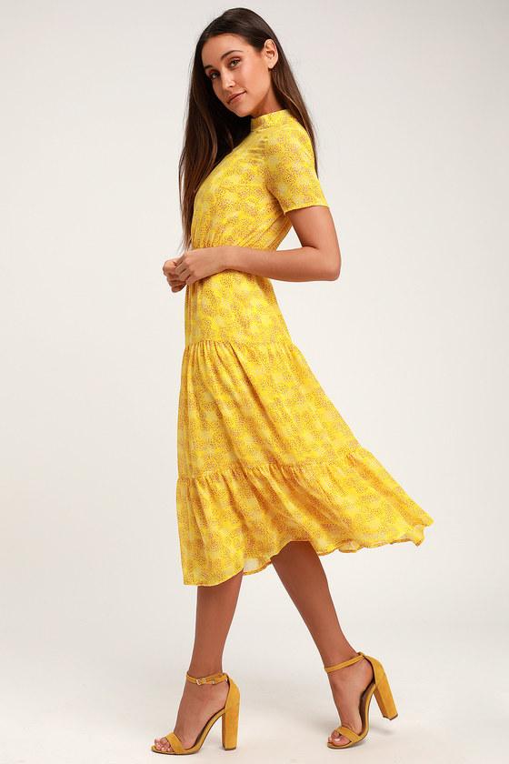 cc61d0ea98 Cute Floral Print Dress - Yellow Midi Dress - Short Sleeve Dress