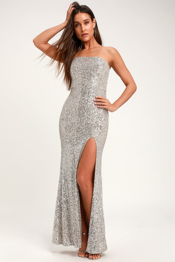 Lovely Silver Sequin Dress - Strapless Maxi Dress - Sexy Gown dad6dd9ae
