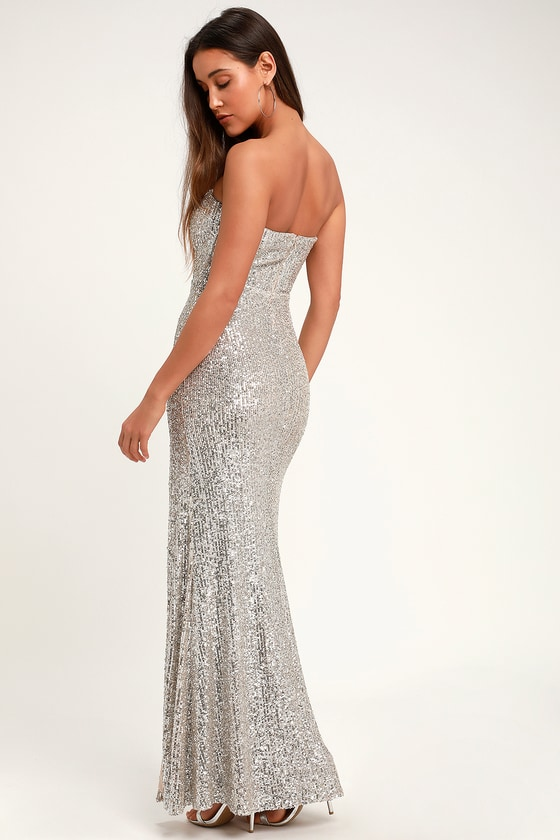 18aedfc773af Lovely Silver Sequin Dress - Strapless Maxi Dress - Sexy Gown