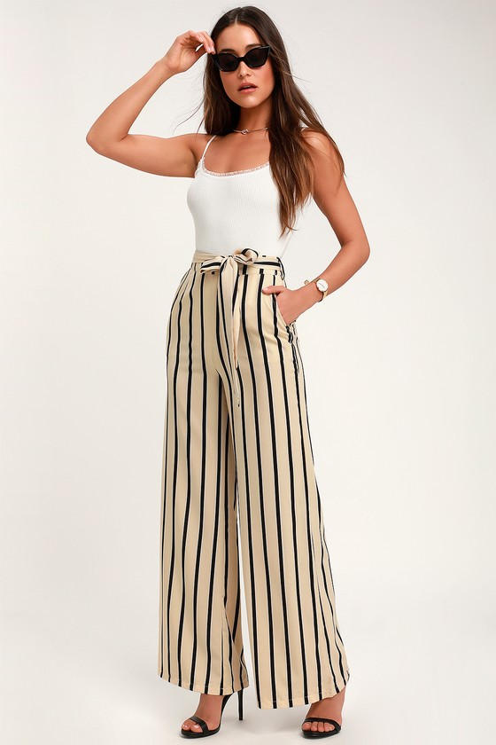 c4037172612215 Chic Beige Striped Pants - Office Chic Pants - Wide Leg Pants