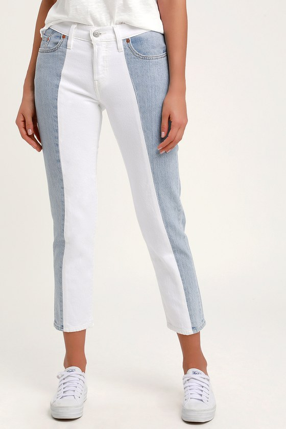 40817441 Levi's 501 Taper Light Wash Color Block - Tapered Cropped Jeans