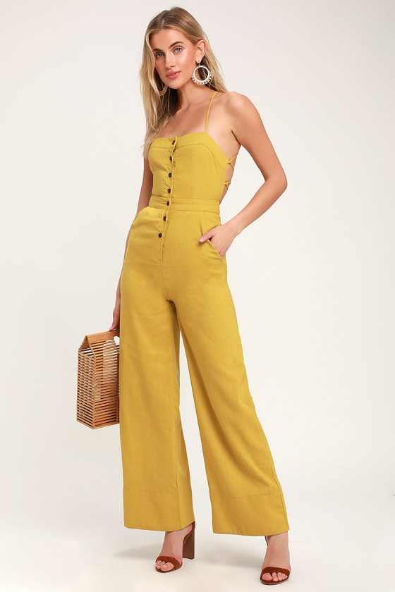 396dc73e86 Mustard Jumpsuit - Lace-Up Jumpsuit - Backless Jumpsuit