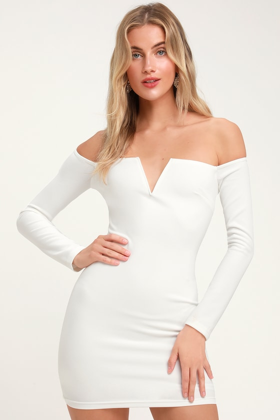 c8fc4956fc3 Sexy Long Sleeve Bodycon Dress - Off-the-Shoulder Dress - LWD