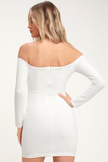 c3b824e9cd6 Sexy Long Sleeve Bodycon Dress - Off-the-Shoulder Dress - LWD