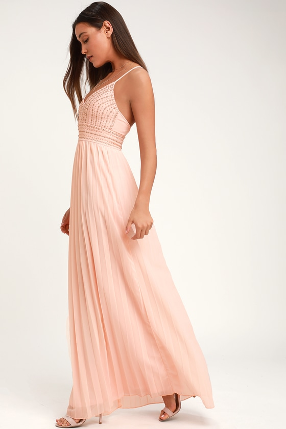 0c26eac13d Blush Pink Dress - Embroidered Maxi Dress - Beaded Maxi Dress