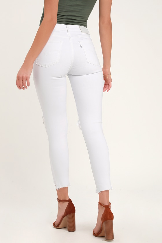 44a54cb04 Levi's 721 - White Skinny Jeans - High Rise Distressed Jeans