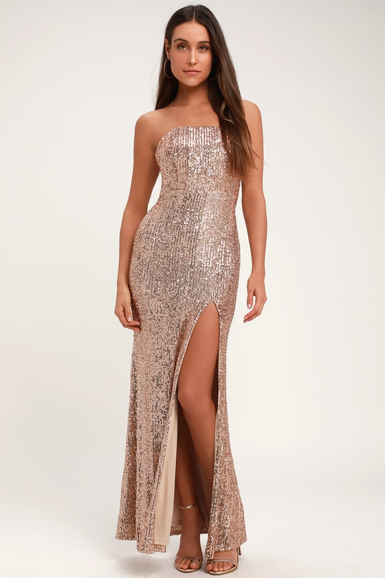 b3611771e7dc25 Lovely Rose Gold Sequin Dress - Strapless Maxi Dress - Sexy Gown