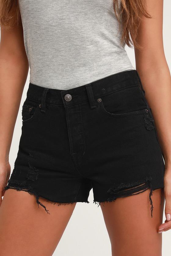 7adf0b83c7 Free People Sofia Black Distressed Denim Shorts - Denim Shorts