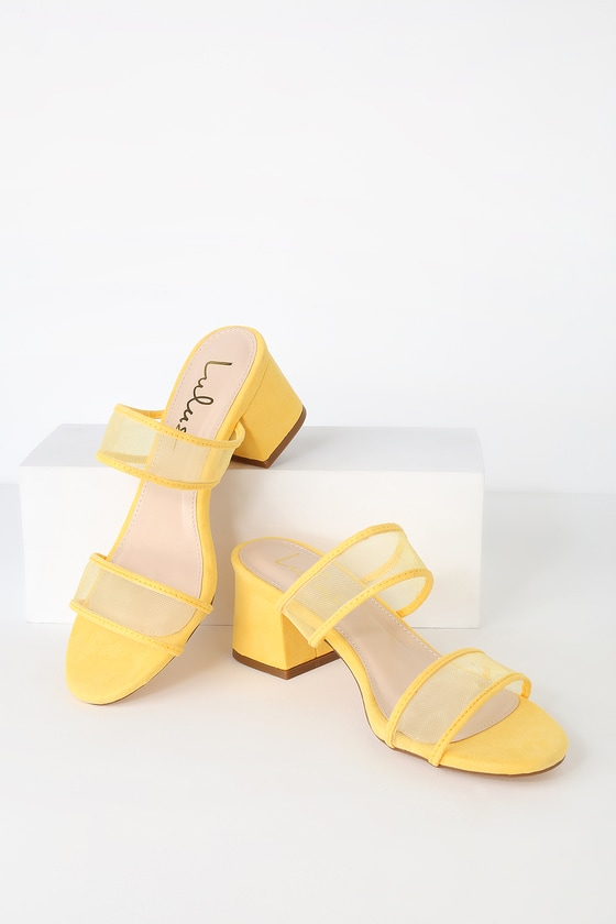 saar-yellow-suede-block-heel-slides by lulus