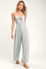 d1cf0bf14417 Cute Sage Green Print Jumpsuit - Sleeveless Wide-Leg Jumpsuit