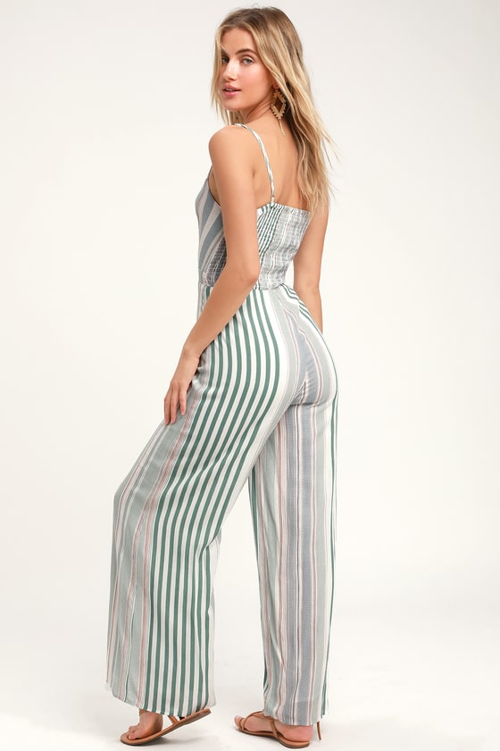 21cd7be435c Cute Striped Jumpsuit - Green Striped Jumpsuit - Jumpsuit