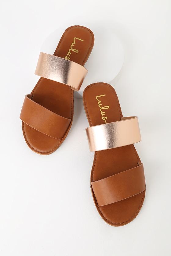 523539ec60b5 Cute Rose Gold Sandals - Slide Sandals - Flat Sandals - Slides