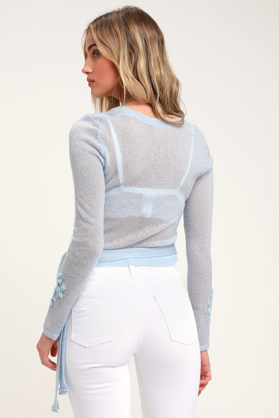 2b1be1c825109 Lovely Light Blue Sweater Top - Embroidered Wrap Sweater - Top