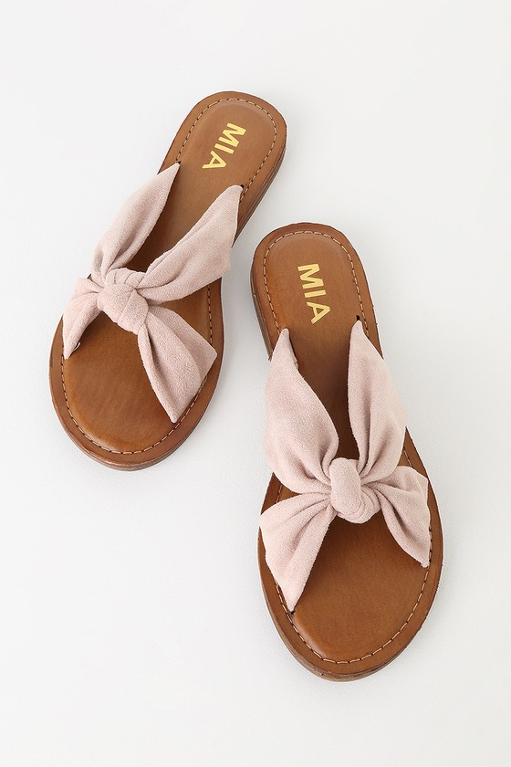 488129b246c MIA Emila - Blush Suede Sandals - Slide Sandals - Flat Sandals