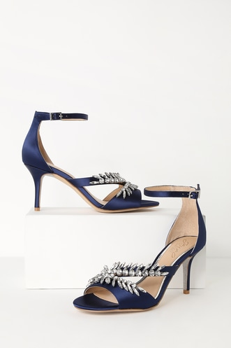 3d878239868 Kailee Navy Satin Rhinestone Ankle Strap Heels