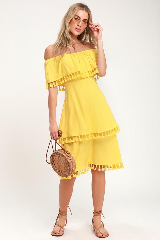 440e6dccc3ac0 Fun Yellow Dress - Off-the-Shoulder Dress - Tasseled Dress - Midi