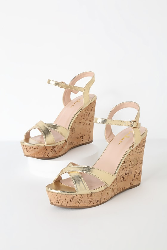 c9598104030 Cute Gold Sandals - Wedge Sandals - Cork Sandals - Gold Wedges