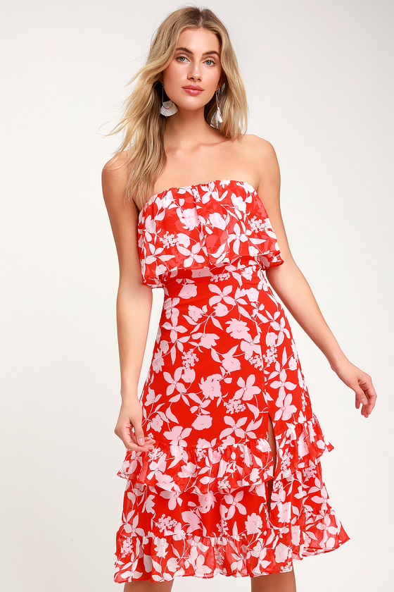 0909c15d7cf4 Cute Red Dress - Floral Print Dress - Strapless Midi Dress