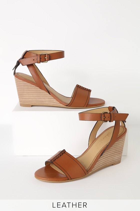 24179186a1f Splendid Tadeo Brique - Tan Leather Wedge Sandals - Wedges