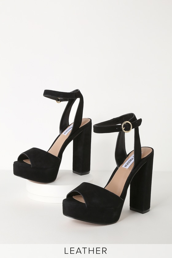 Madeline Black Suede Leather Platform Sandals by Steve Madden