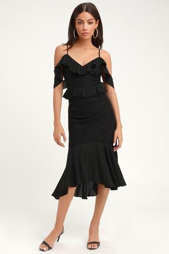 577f3291ec7 Dance of Romance Black Lace Cold-Shoulder Midi Dress